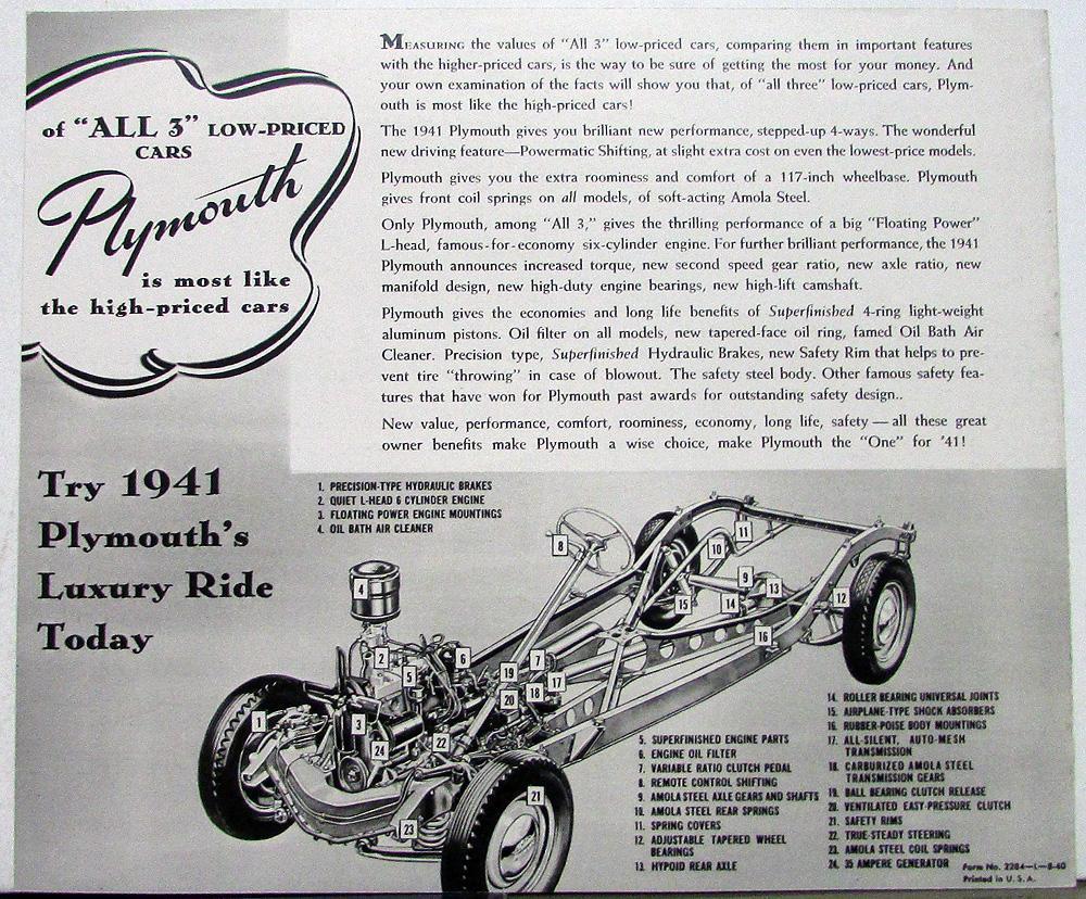 1941 Plymouth Dealer Sales Brochure Bw Sedan Coupe Deluxe Wagon 2 Door Original