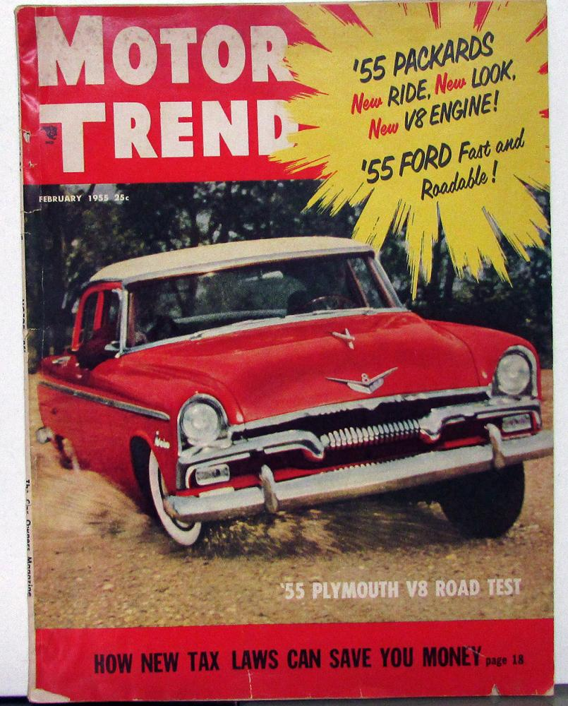 1955 Motor Trend Mag Plymouth V8 Packard Willys Kaiser Ford