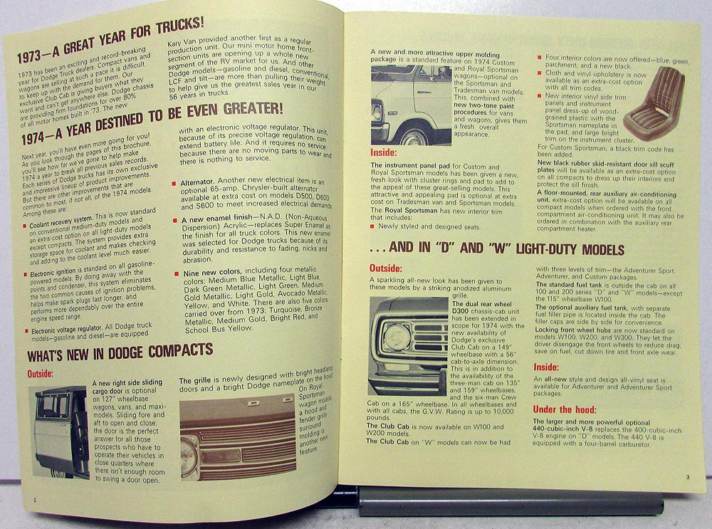 1974 Dodge Fleet Buyers Guide Sales Set Features Specs Truck