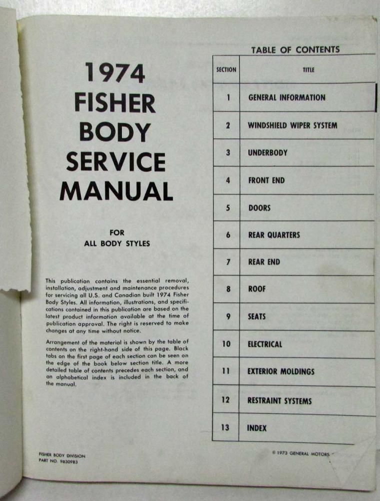 1974 chevrolet camaro pontiac firebird trans am fisher body service manual