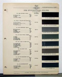 1938 Studebaker Paint Chips By Acme Automotive Finishes