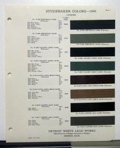 1940 Studebaker Paint Chips By Detroit White Lead Works