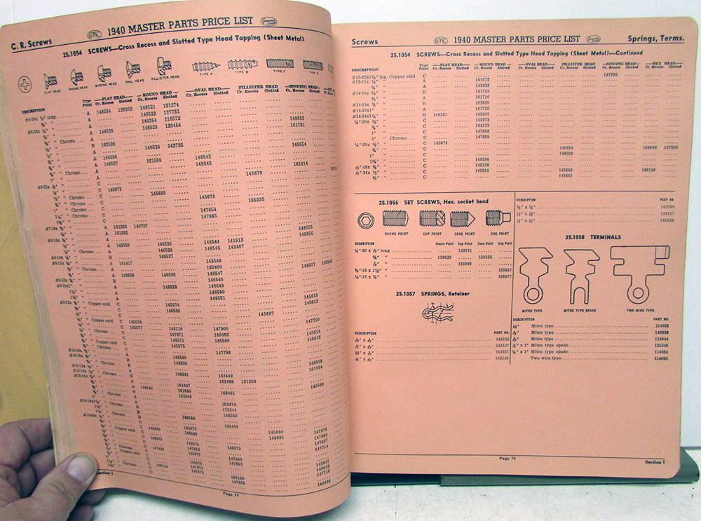1940 GMC Truck Dealer Parts Price List Book Pickup H/D Repair Kits