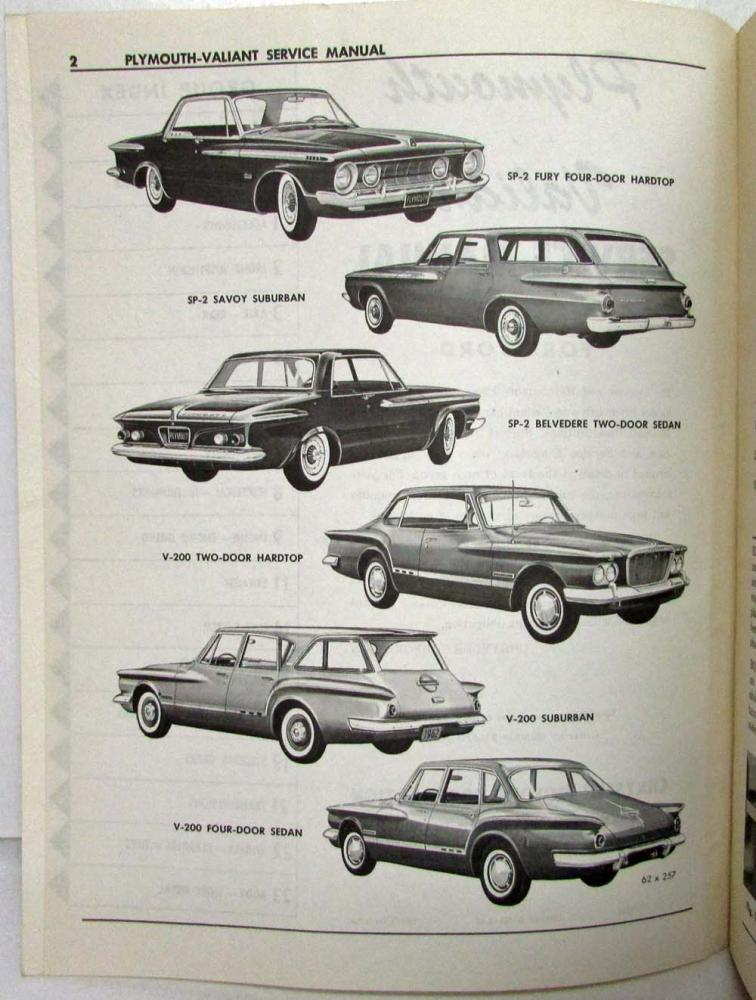 1962 Plymouth Belvedere Fury Savoy Valiant Shop Service Repair Manual Book Guide