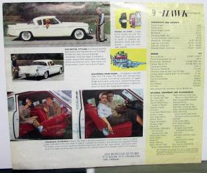 1960 Studebaker Hawk Sales Brochure And Data Sheet