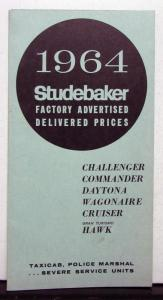 1964 Studebaker Challenger Commander Daytona Cruiser Hawk Price List Brochure
