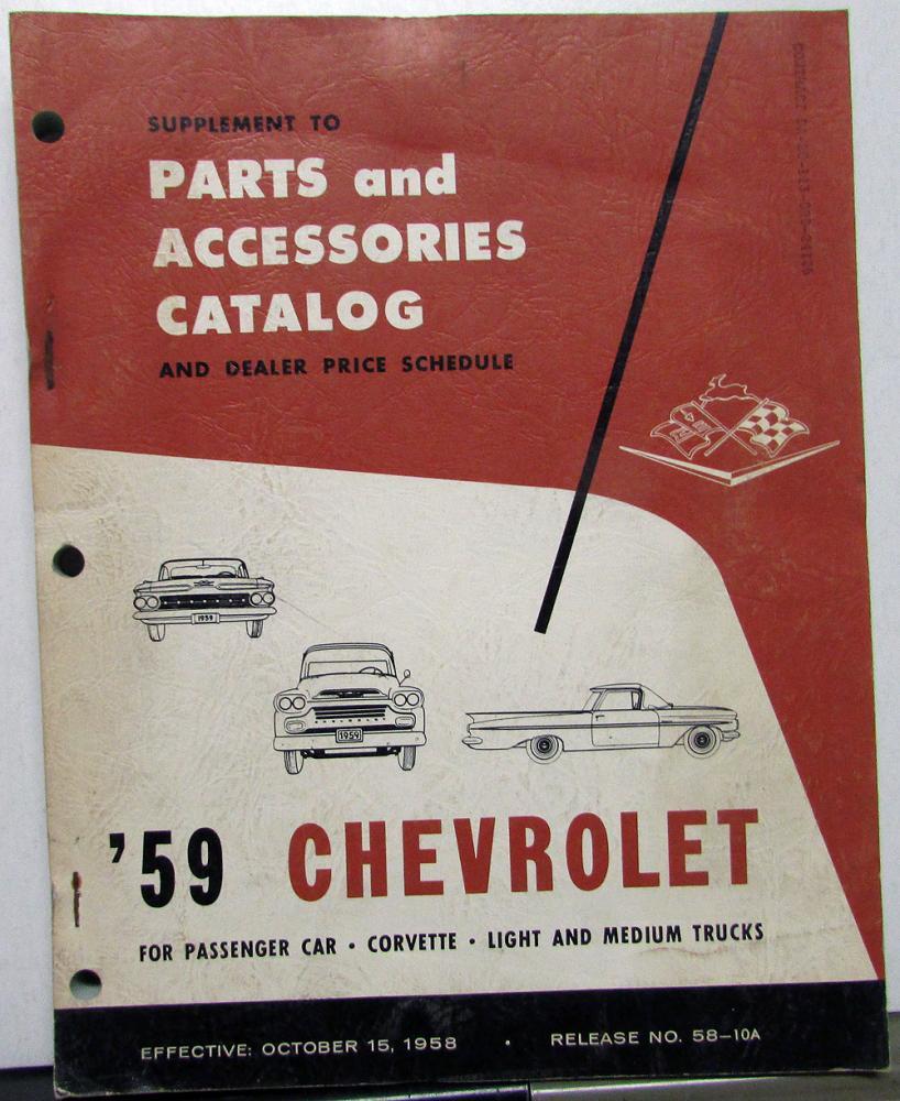 1959 Chevrolet Dealer Parts Accessories Catalog Supplement Impala 1966 Chevy Corvette Truck