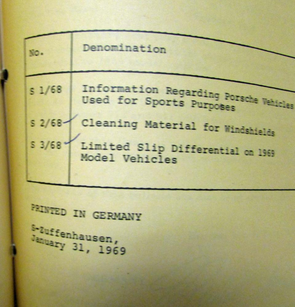 1968 1969 911 912 Porsche Technische Informationen Technical Complete Electrical Wiring Diagram Of Type Information Binder