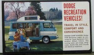 1962 Dodge RV Motor Home Pickup Camper Camp Wagon Sales Folder Postcard Size