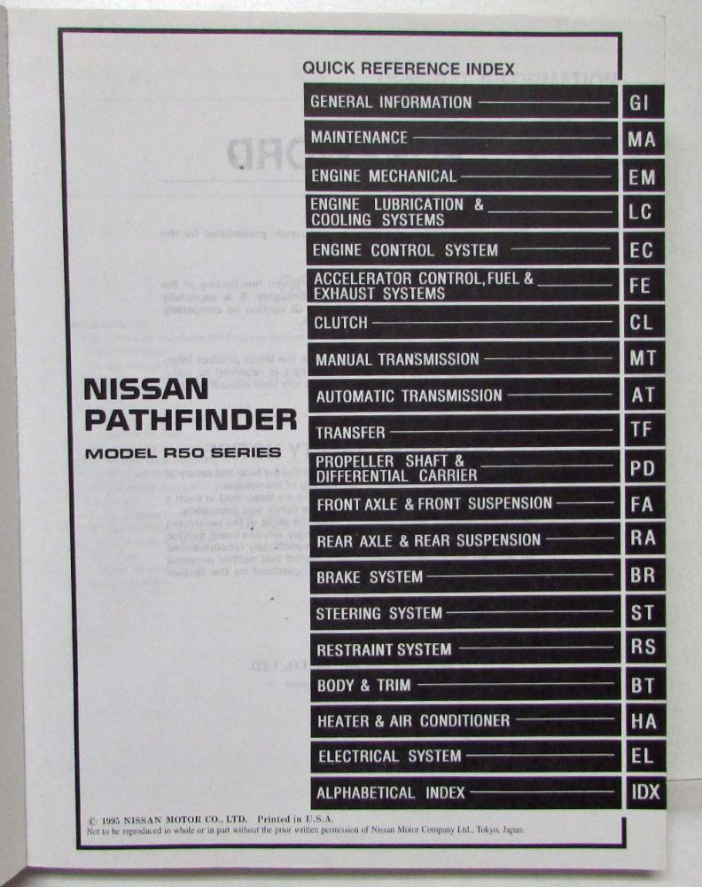 1996 nissan pathfinder service shop repair manual model r50 series rh  autopaper com 1996 nissan maxima service manual pdf ...