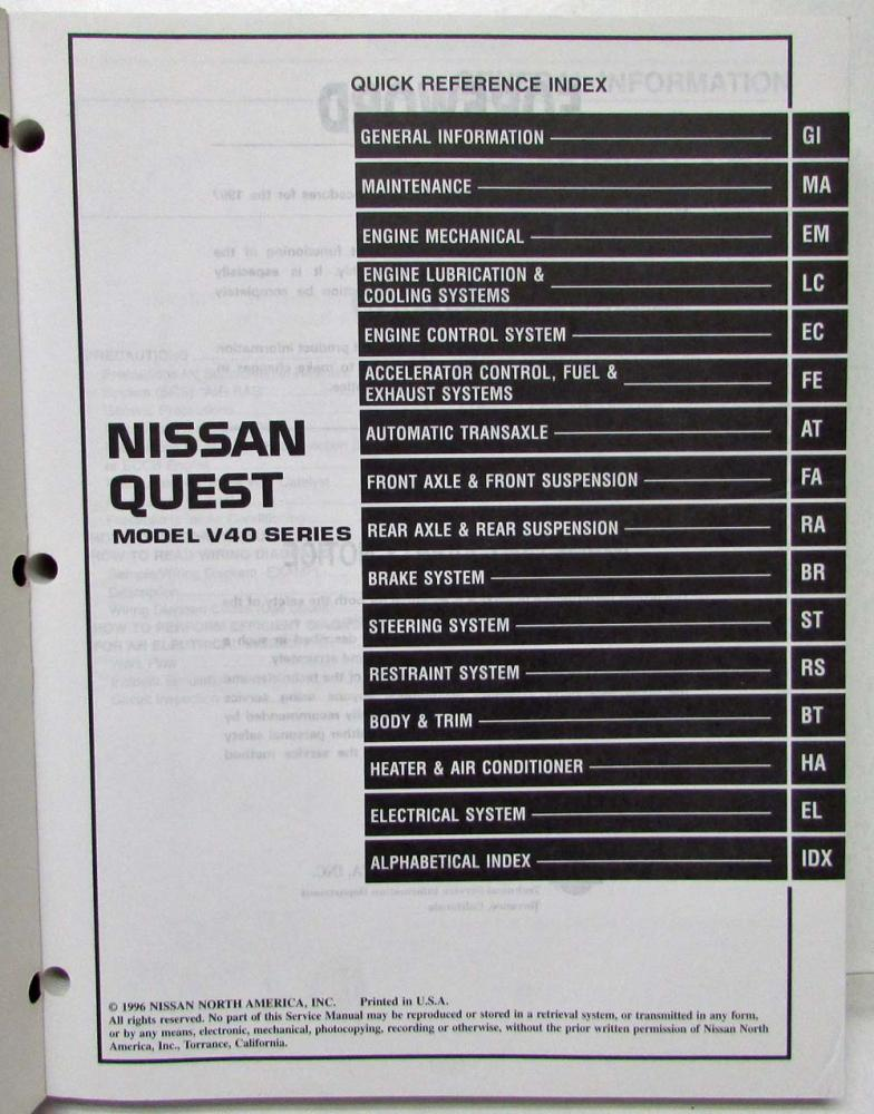 1997 nissan quest service shop repair manual model v40 series shop repair manual model v40 series