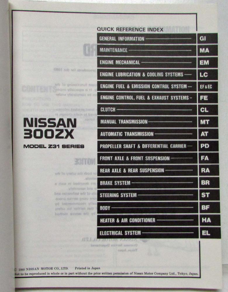 1989 Nissan 300ZX Service Shop Repair Manual Model Z31 Series