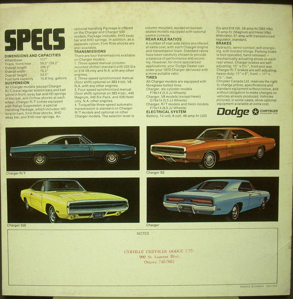 1970 Dodge Charger R T Se 500 Scat Pack Hemi Canadian