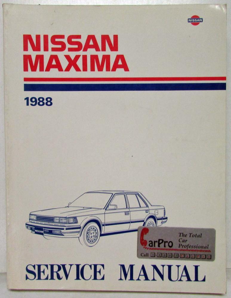 1988 nissan maxima service shop repair manual model u11 series rh autopaper com 1992 nissan maxima owner's manual 1993 Nissan Maxima