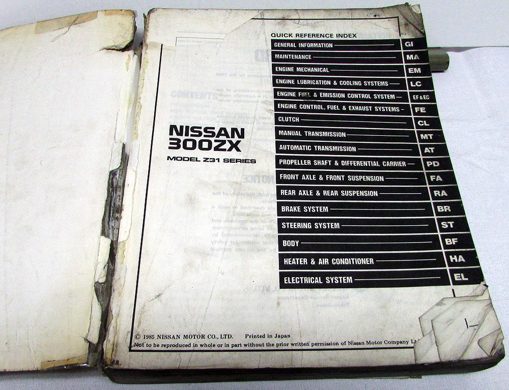 1986 nissan 300zx workshop manua