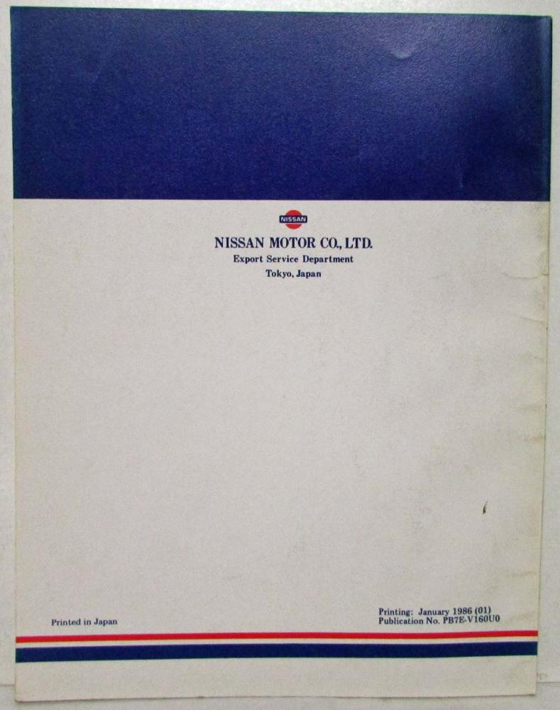 1987 Nissan Product Bulletin Vol 160 New Model Introduction Sentra B12  Series