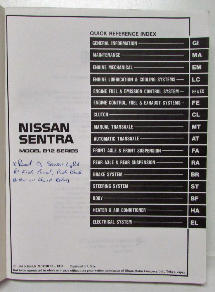 Wondrous 1987 Nissan Sentra Service Shop Repair Manual Model B12 Series Wiring 101 Akebretraxxcnl