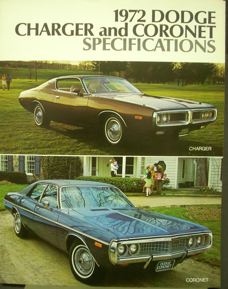 1972 Dodge Charger Coronet Wagon Specifications Brochure