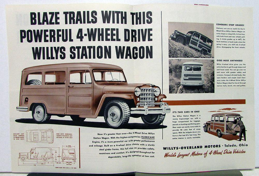 1950 Willys Jeep 4 73 4wd Station Wagon Sales Mailer Specifications