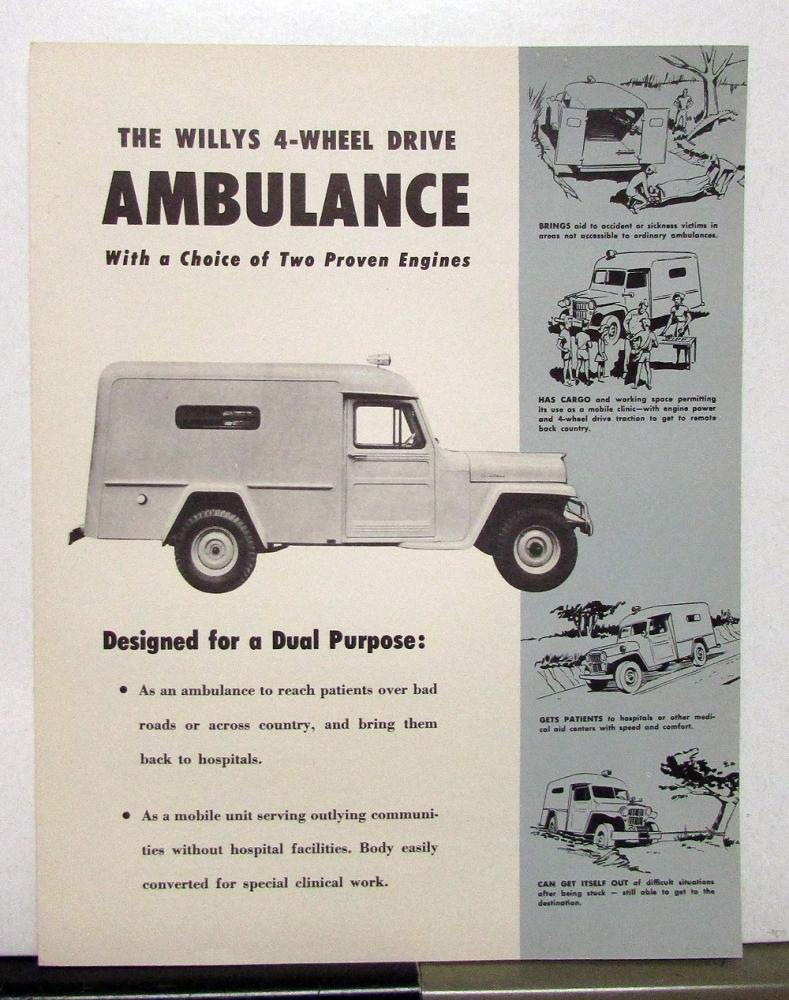 1954 Willys Jeep Ambulance Sales Brochure Specifications 1941 To 1952