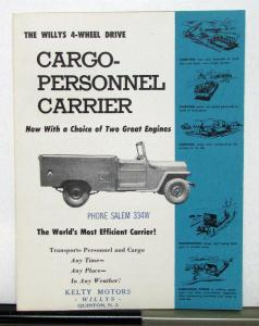 1954 Willys Jeep Cargo-Personnel Carrier Sales Brochure & Specifications