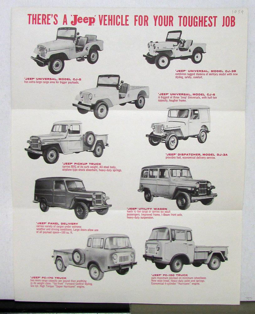 1959 Willys Jeep Cj 5 3b 6 Dj 3a Fc 170 150 Truck 1941 Pickup Trucks
