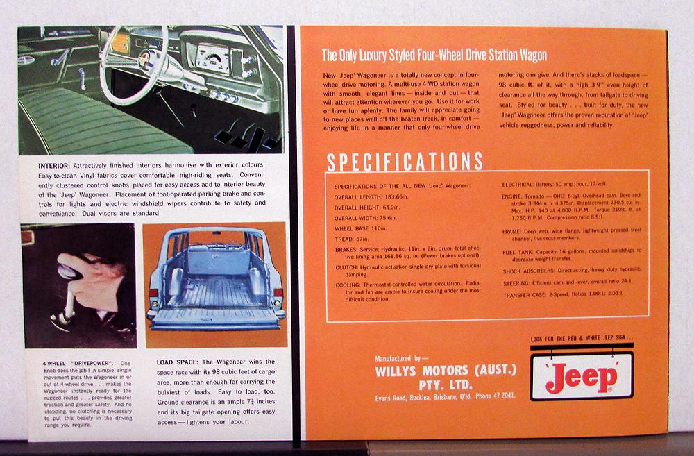 1963 Willys Jeep Wagoneer First Of The New Breed Sales Brochure