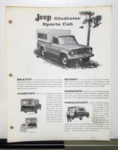 1963 1964 Willys Jeep Gladiator Sports Cab Sales Brochure & Price Sheet
