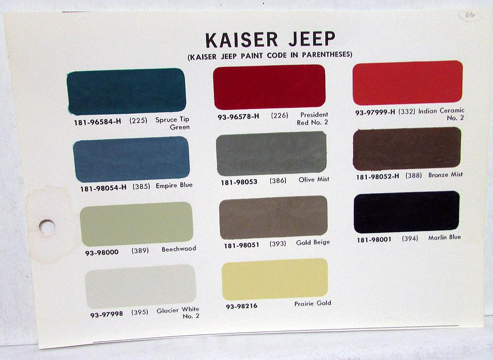 1966 Jeep Kaiser Paint Chips Leaflet