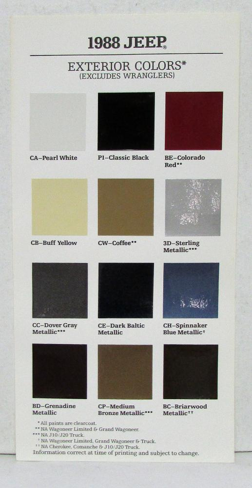 1988 Jeep Cherokee Wagoneer Comanche Wrangler Paint Chips