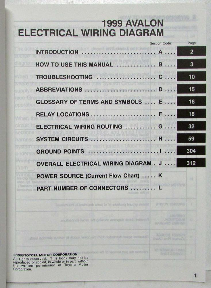 1999 Toyota Avalon Electrical Wiring Diagram Manual Us Canada