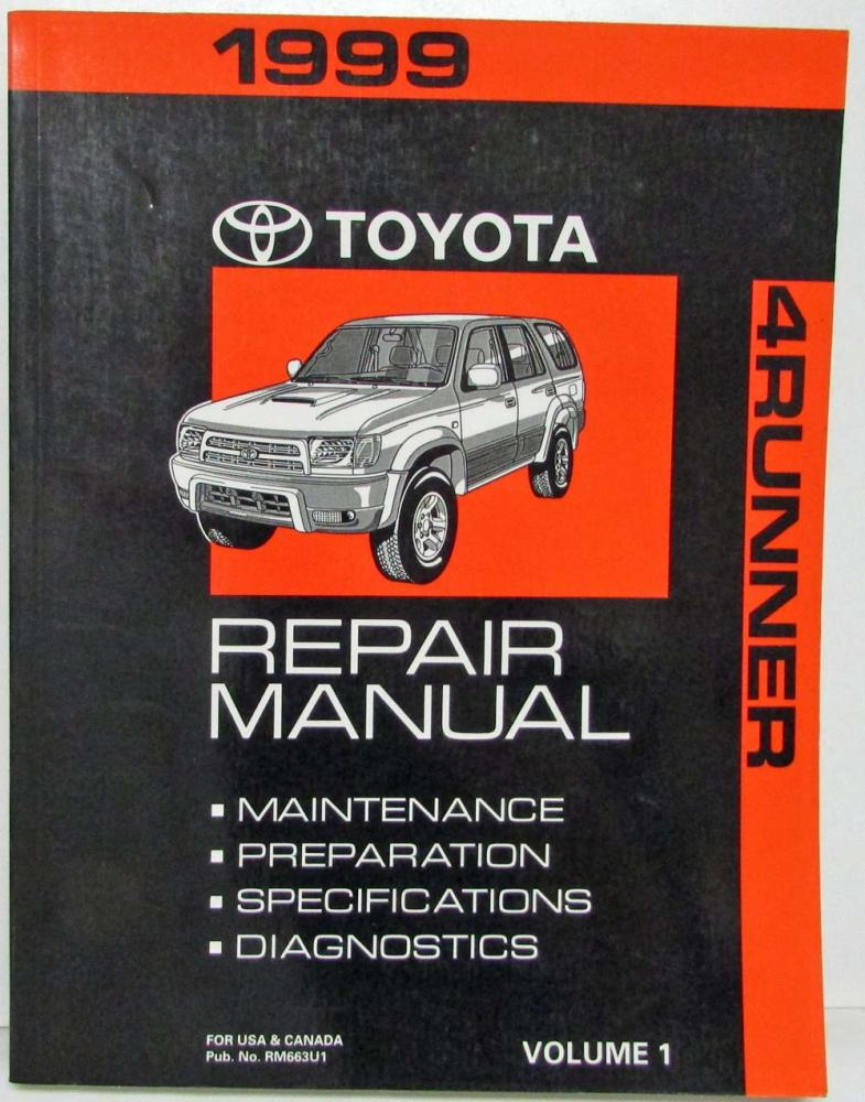 1999 toyota 4runner service shop repair manual us canada volume 1 only rh autopaper com 2004 4runner repair manual free 2004 4runner repair manual pdf