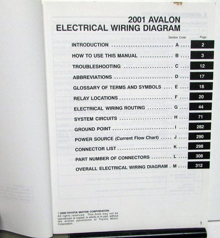 2001 Toyota Avalon Electrical Wiring Diagram Manual