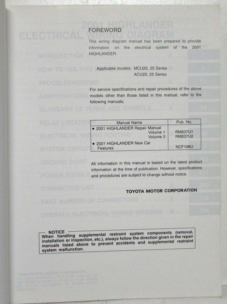 2001 Toyota Highlander Electrical Wiring Diagram Manual