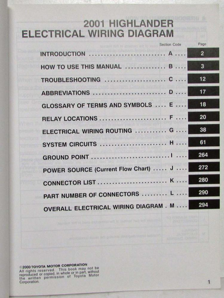 2001 toyota highlander electrical wiring diagram manual  troxel's auto literature