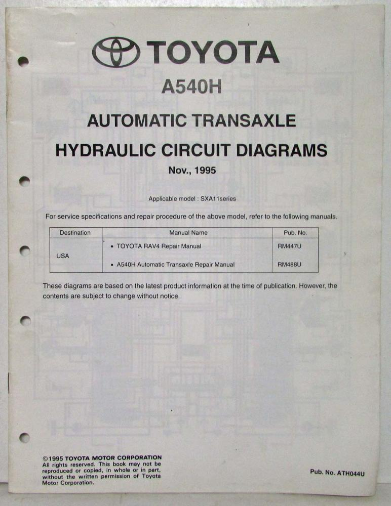 1995 Toyota Automatic Transaxle Service Repair Manual A540H ... on