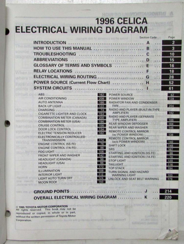 1996 toyota celica electrical wiring diagram manual us  canada