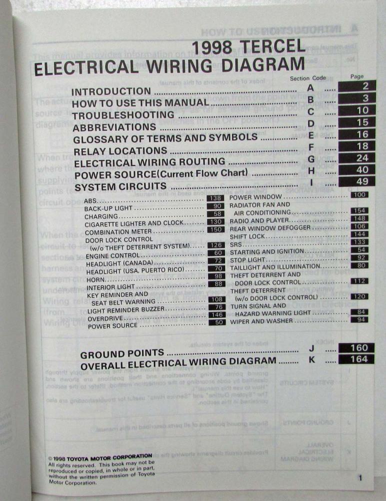 [SCHEMATICS_4NL]  1998 Toyota Tercel Electrical Wiring Diagram Manual US & Canada | 1992 Toyota Tercel Wiring Diagram |  | Troxel's Auto Literature
