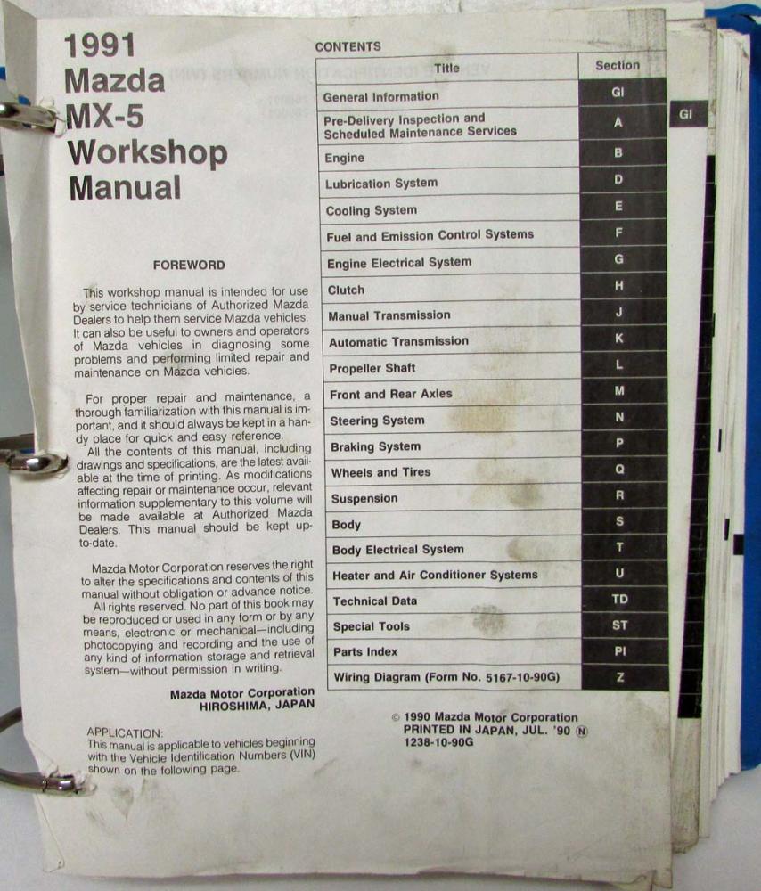 1991 Mazda Mx 5 Miata Service Shop Repair Manual