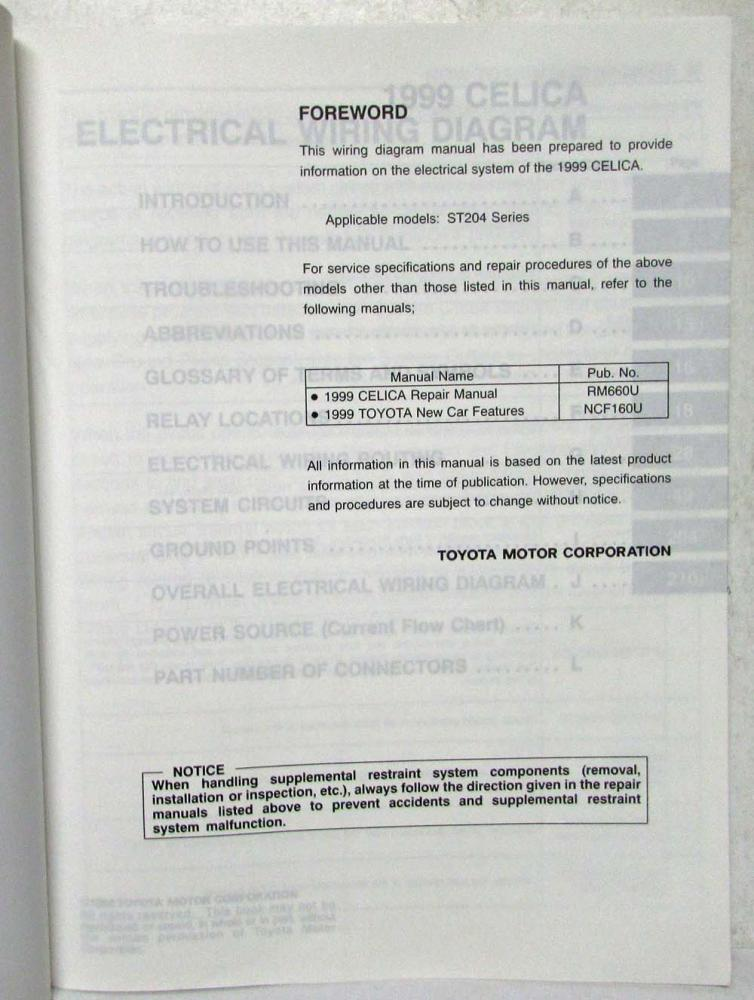 1999 toyota celica electrical wiring diagram manual us  canada