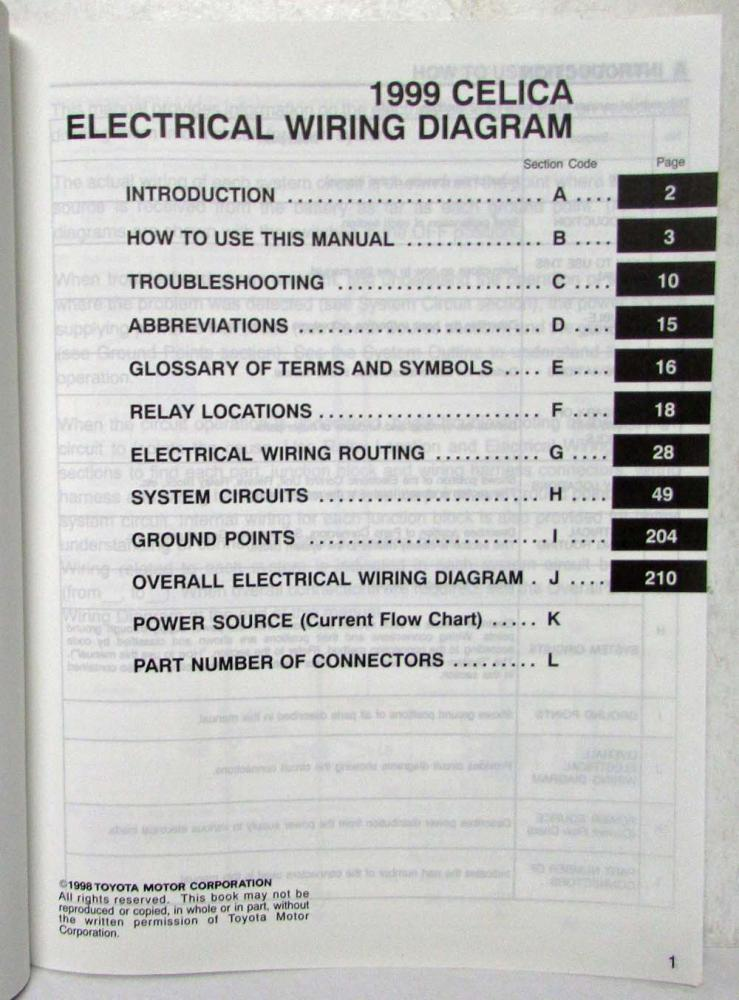1999 Toyota Celica Electrical Wiring Diagram Manual US & Canada on 2001 celica wiring diagram, 2000 celica parts diagram, 2000 celica toyota, 2004 toyota avalon radio diagram, 2000 celica fuse diagram, 2000 celica heater, 2002 celica wiring diagram, toyota matrix radio diagram, 2000 celica tires, 2000 celica antenna, 2003 toyota celica jack diagram, 76 monte carlo headlight wiring diagram, 2001 celica fuse diagram, 2000 celica repair manual, 2000 celica alternator, 2000 celica schematic, 2000 celica belt routing, toyota wiring diagram, 92 celica distributor diagram, 2000 celica engine diagram,