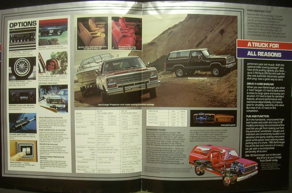 1985 Dodge Ram Tough Ramchargers Dealer Sales Brochure ...