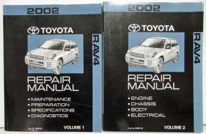 2002 Toyota RAV4 Service Shop Repair Manual Set Vol 1 & 2