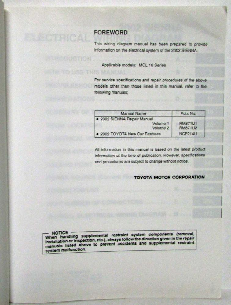 Awesome 2002 Toyota Sienna Van Electrical Wiring Diagram Manual Wiring Cloud Hisonuggs Outletorg
