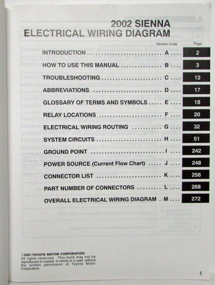 2002 toyota sienna van electrical wiring diagram manual rh autopaper com 2002 toyota sienna stereo wiring diagram