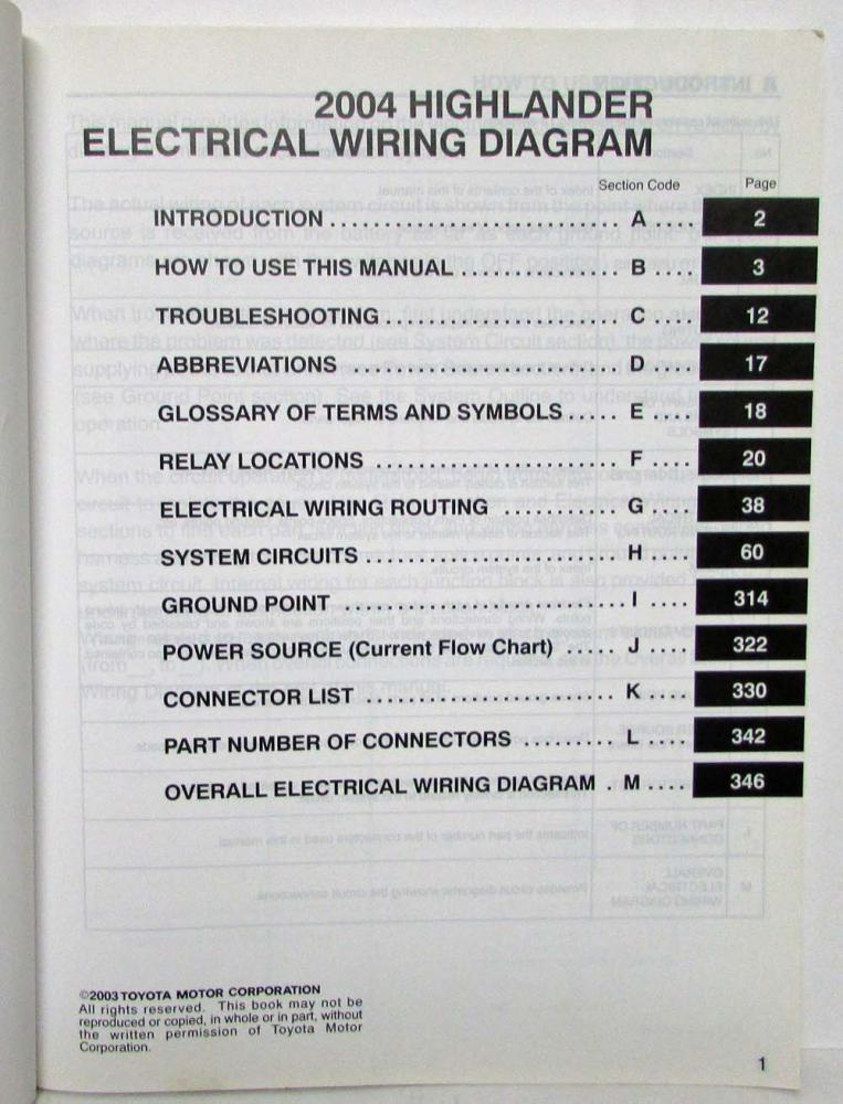 2004 toyota highlander electrical wiring diagram manual rh autopaper com