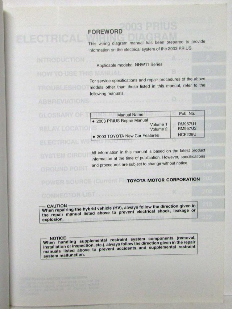 2003 toyota prius electrical wiring diagram manual2003 Toyota Prius Hybrid Wiring Diagram #17