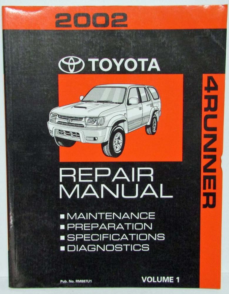 2002 toyota 4runner service shop repair manual set vol 1 2 rh autopaper com 2015 Chevy Cruze Factory Service Manual 2002 toyota 4runner factory service manual