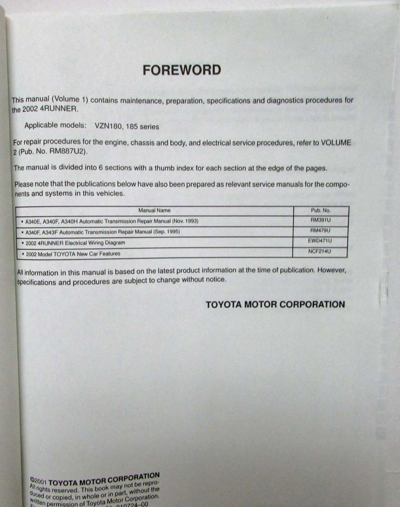 2002 Toyota 4runner Service Shop Repair Manual Set Vol 1 2 5vzfe Wiring Diagram