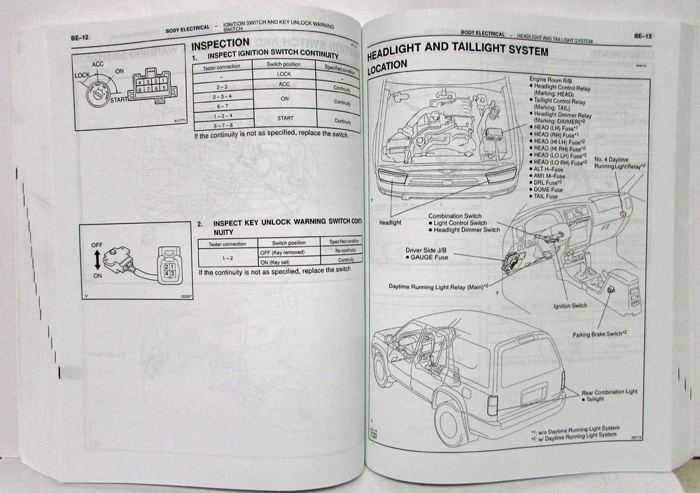 2002 Toyota 4Runner Service Shop Repair Manual Set Vol 1 & 2 on 2004 4runner wiring diagram, 2000 4runner wiring diagram, 2013 camry wiring diagram, 2013 tacoma wiring diagram, 2013 highlander wiring diagram, 2013 prius v wiring diagram,